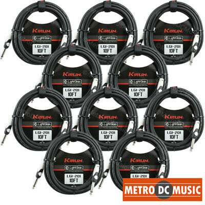 "10-Pack Kirlin 10 ft Guitar Instrument Patch Cable Cord Free Velcro Tie 1/4"" NEW"
