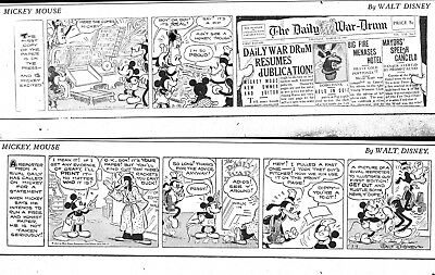 48 Large Mickey Mouse Dailies From 1934 & 1935