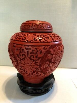 Antique Chinese Hand Carved Cinnabar Vase Mint Free Shipping