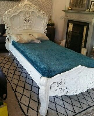 Rococo single Size French Style Louis Solid Mahogany Antique White Bed rrp649
