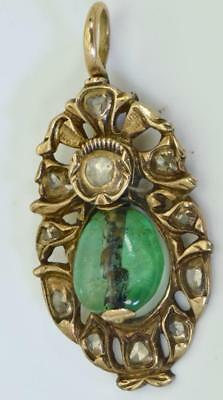 Antique 18th Century Ottoman 9k gold,2ct Emerald&Rose Cut Diamonds pendant