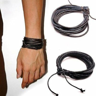 Unisex Punk Jewelry Women Men Wrist Strap Wrap Braided Leather Bracelet Bangle