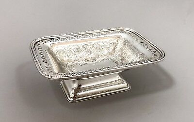 Vintage silver on copper plate Old Sheffield style small pedestal bowl dish