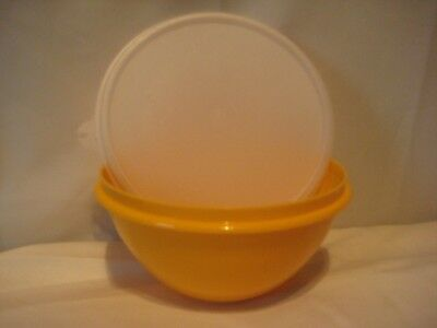 Tupperware Wonderlier Orange C Bowl 234-20 Shear Lid 227-23  Made in USA