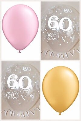 Rose Pink Gold Clear Printed 60th BIRTHDAY BALLOONS Party Decorations Helium