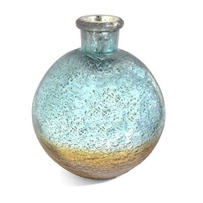 Pomeroy Pacifica Artifact Glass 8.5-inch Bottle Vase, Silver/Gold