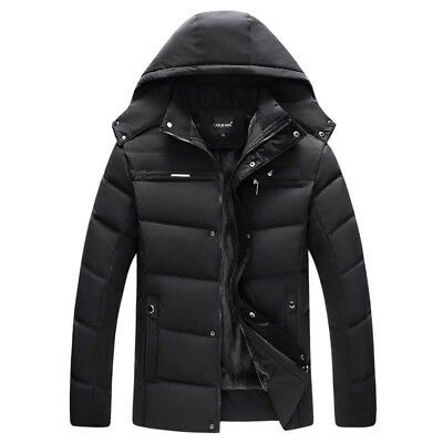 Winter Mens Cotton Padded Jacket Parka Hooded Outwear With Velvet Down Coat New