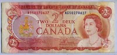 .Paper Money Canada 1974 2 dollars,AGS0270627