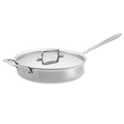 All-Clad d5 Polished 5-ply Stainless-Steel 3-Qt Sauté Pan, with lid