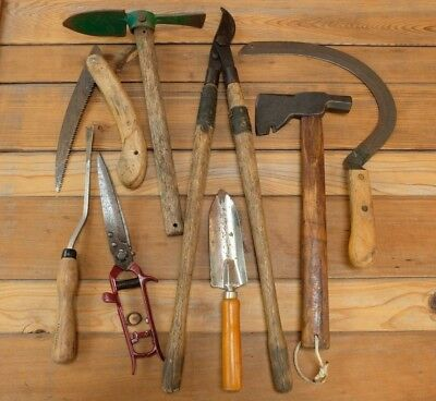 Vintage Garden Hand Tool Lot She Shed Farm Pruning USA Saw Axe Cultivator Shears