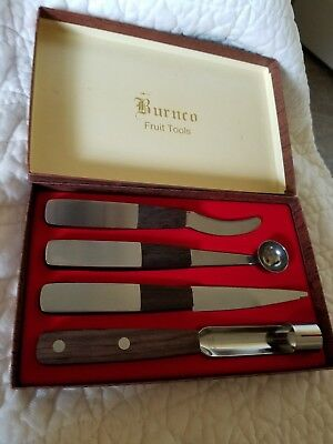 Vintage Burnco Inlaid Wood & Brushed Stainless Steel Fruit Tools - 4 Piece Japan