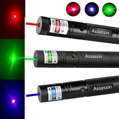 3PCS 50Miles Green+Blue Purple+Red Laser Pointer Pen Visible Beam Burning Lazer