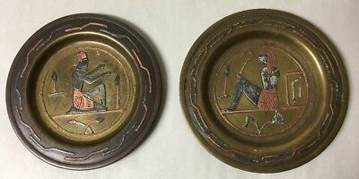 Lot Of 2 Vintage Mixed Metal Silver Copper Brass Egyptian Trays