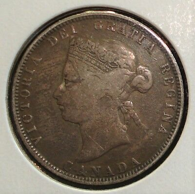 1874-H Silver 25 Cents Coin from Canada