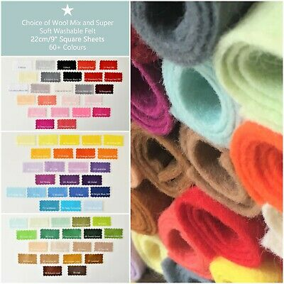 "Wool Mix and Like Soft Feel Washable Felt | 60 Colours | 9""/22cm Sq Sheets"