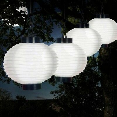 Patio Solar Lights White LED Chinese Lanterns Outdoor Hanging String Garden Deck