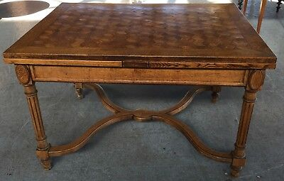 French Country Dining Table Draw Leaf Parquetry Top