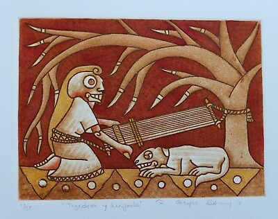 Weaver of Life, Backstrap Loom Etching Hand tinted by Reyes Gomez Oaxaca Mexican