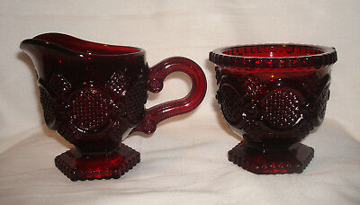 Vintage Avon 1876 Cape Cod Ruby Red Glass Handled Creamer & Open Sugar Bowl Set