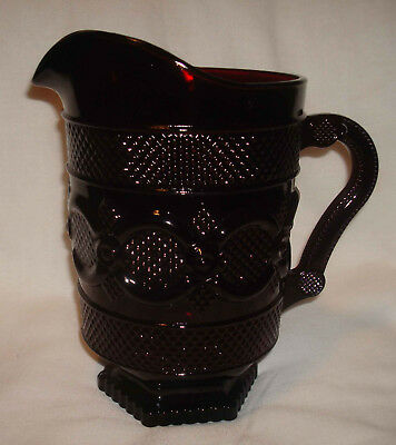 "Vintage Avon 1876 Cape Cod Ruby Red Glass 8 ¼"" Handled Water Pitcher Jug NICE"