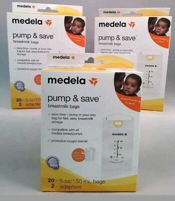 LOT of 3- Medela Pump and Save Breastmilk Bags 20 Count/ 2 Adapter boxes