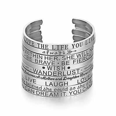Engraved Bracelet Stainless Steel Love Wish Letters Silver Cuff Family Bangle