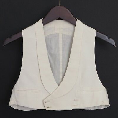 1920's vintage boy's double-breasted white cotton pique formal waistcoat, ~31
