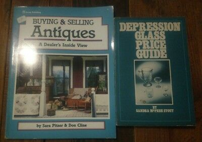 Lot Of 2 Pb Books Buying & Selling Antiques Depression Glass Price Guide Vtg