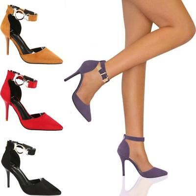 Womens High Heels Pointed Toe Stilettos Sandal Ankle Strap Pump Dress Shoes Size