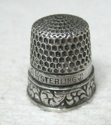 Vintage Thimble Sterling Silver English Hallmarks SBJ Anchor Sz 6 Honeycomb M8