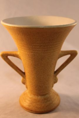 McCoy Deco Angle Handled Vase in Speckled Mustard Matte Glaze