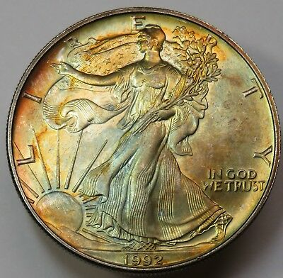 1992 Toned Silver American Eagle Dollar SAE 1 OZ .999 Fine US Coin #19073