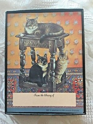 Vintage Bookplates Antioch Publishing Lesley Ann Ivory Cats B291 30 pieces