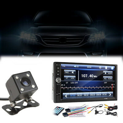 7inch 2DIN Car MP5 Player Bluetooth Touch Screen Stereo Radio HD+Rear Camera Set