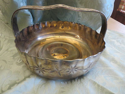 Victorian Silver Plate Basket Etched Flowers Rockford Silver Company 1154