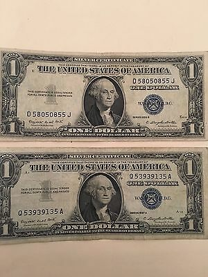 2 old 1957 One Dollar Bills Well Circulated Silver Certificate Vintage