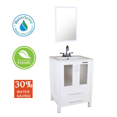 "24"" Bathroom Vanity White Rectangle Ceramic Sink with 2 Handle ORB Faucet Mirror"