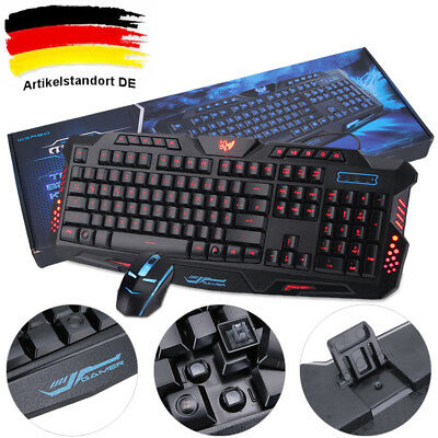 Gaming set beleuchtet Maus USB Tastatur Keyboard Qwertz Layout Spiel PC WOW DE