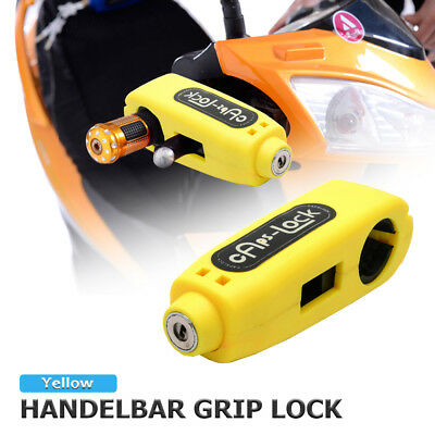 Motorcycle Grip Lock Scooter Handlebar Brake lever Universal Anti-Theft Yellow