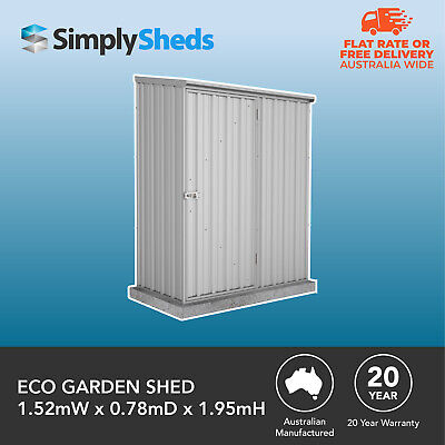 Absco Eco Garden Shed 1.52mW X 0.78mD X 1.95mH Storage Tools Small Sheds Zinc