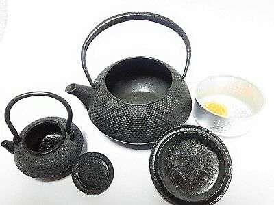 Antique Japanese Nanbu Tekki Tetsubin Kyusu ARARE 2 pieces Iron Teapot #576