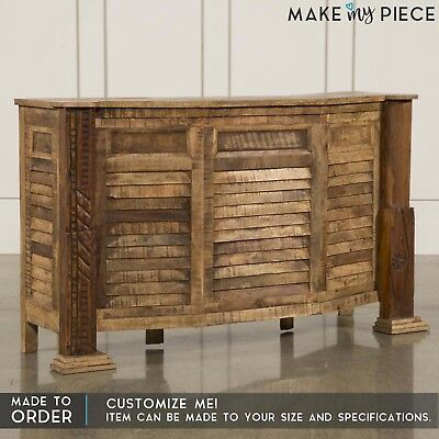 MADE TO ORDER Shutter Solid wood 2 Drawer Bar Counter Wine Rack Natural 1.8M