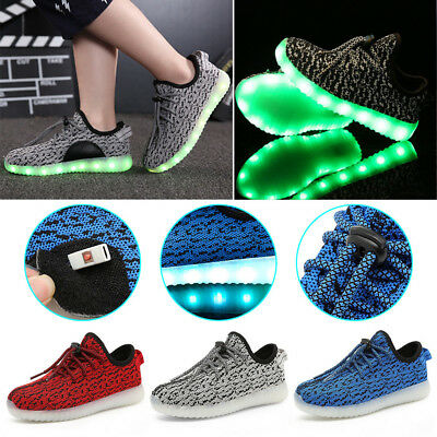 LED Light Up Adult Kids Boys Girls Trainers Knitted Sneakers Luminous Shoes 2018