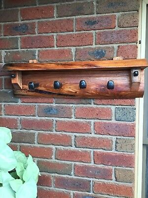 Rustic Recyled Wood Coat Rack.                       Wall Plugs Are Included