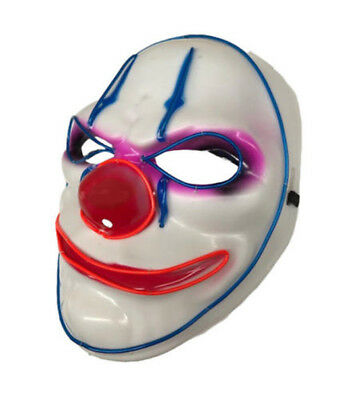 1*Clown LED Light Up Mask Costume Halloween Fancy Dress Purge Payday Cosplay AU