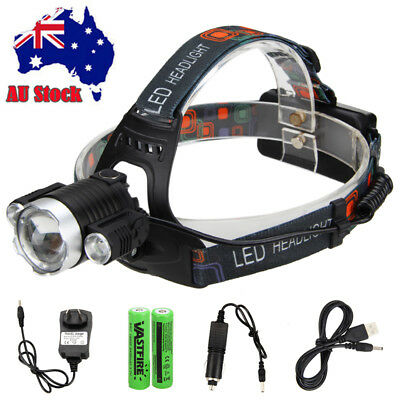 30000 Lm 3x XM-L T6 LED Headlamp Rechargeable Head Light Torch USB 18650 Fishing