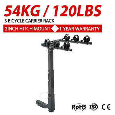 3 Bicycles Bike Rack Carrier For Car Rear Towbar 2inch Hitch Mount Foldable