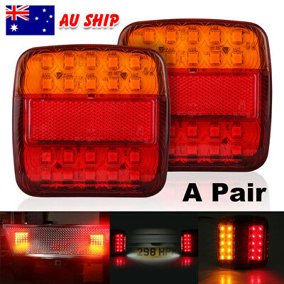 2X 20LED Square Trail Trailer Stop Light Indicator Lamp + LED Number Plate Light