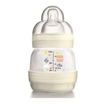 MAM Anti-Colic Bottle 130ml Slow Flow Unisex White Easy Start Self Sterilising