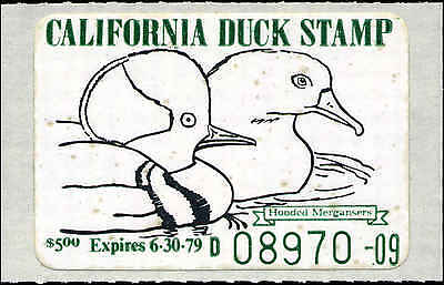 CALIFORNIA #8 1978 STATE DUCK HOODED MERGANSER by Lawrence Michaels